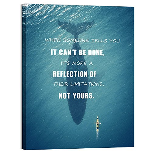 Visual Art Decor Success Inspirational Quote Creative Ocean Challenge Limitation Canvas Poster Motivational Motto Framed Giclee Prints Home Office Boy Bedroom Wall Decoration (01 Not Yours, 24