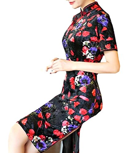 Gold Women Chirpaur Regular Dress Fit Side Midi 1 Velvet Coolred Split fBFtwB6