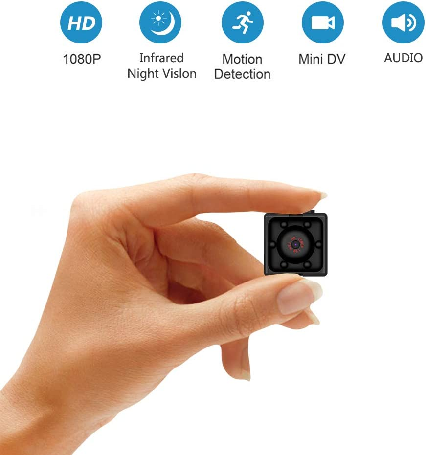 Supoggy Mini Cámara Espía Full HD 1080P Cámara Portátil Pequeño Tamaño con Visión Nocturna, Grabación y Detección de Movimiento en Hogar, Automóvil, Drone, Oficinas. Apto para Uso en Exteriores
