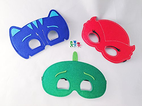 [PJ Masks PJ Masks Set of 6 Catboy Owlette Gekko Disney Junior Pretend Play Party Favors Felt Masks Set of 6 Catboy Owlette Gekko Costumes] (Disney Junior Pj Masks Costumes)