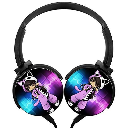 PjNnt A-phmau Deep Bass Wired Headphones Stereo HiFi Over-Ear Earphone Black