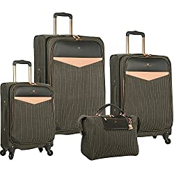 Vince Camuto 4 Piece Spinner Luggage Set, Black/White