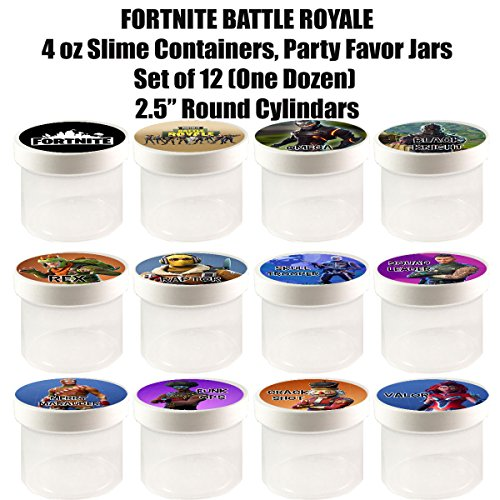 "Fortnite Battle Royale 4 oz Slime Containers, Party Favor Jars, 2.5"" Round Cylinder -12 pcs, durable plastic, put any content, candy, cereal, - Craft Foamies Glue"
