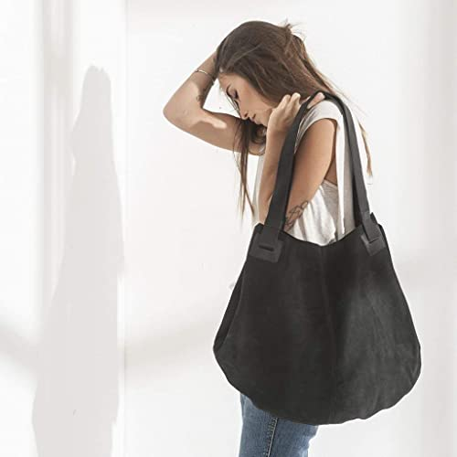 044b56903ff Amazon.com: Unique Oversized Genuine Black Leather Tote Shoulder Bag ...