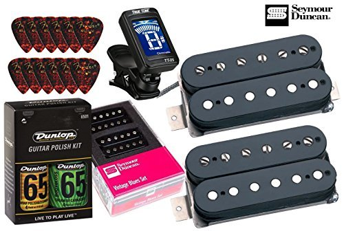 Seymour Duncan Vintage Blues Matched Pickup Set Bundlewith True Tune tuner, Dunlop care kit, Fender picks SH-1n '59 SH-1b '59 11108-05-B (Best Humbuckers For Blues)