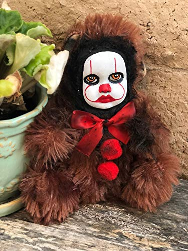 OOAK Pennywise IT Clown Teddy Bear #1 Creepy Horror Doll Art Christie Creepydolls from Christie Creepy Dolls