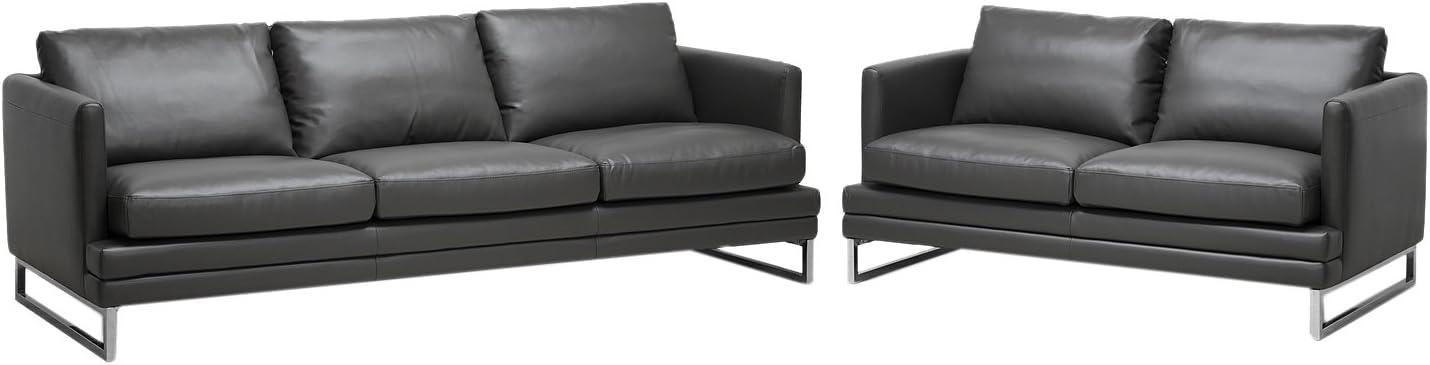 Baxton Studio Dakota Leather Modern Sofa Set, Pewter Gray