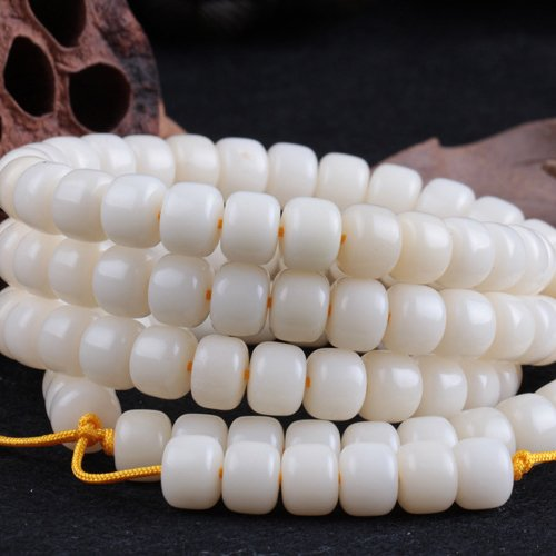 Genuine white jade Bodhi Root barrel beads 108 + pure natural quality custom beaded bracelets Man playing prayer beads (Jade Barrel Beads)