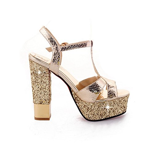 AmoonyFashion Womens Open Peep Toe High Heel Chunky HeelsPU Embossed Leather Solid Sandals with Sequin Gold DdI7SqZ