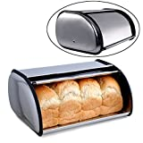 Bread Box Storage,Stainless Steel Bread Box Bread Bin Storage Bread Holder,Metal Roll Top Lid Bread Container Storage Bin Keeper for Homemade Cake Buns Food for Kitchen Home Party
