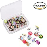 Creative Steel Push Pins,Soft Round Head Decorative Thumb Tacks for for Photos Wall, Maps, Bulletin Board or Cork boards, Star Sky and Stripes Pattern,100 Count