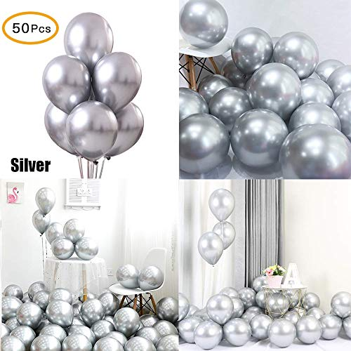 Chrome Metallic Balloons for Parties 12 inch 50 Pcs Thick Latex Balloons for Birthday Wedding Engagement Anniversary Christmas Festival Picnic or Any Family Party Decorations Supplies-Silver Balloons