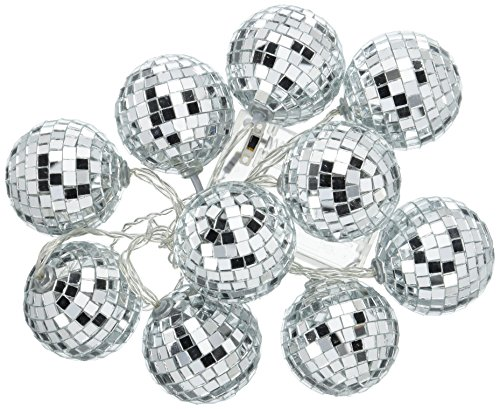 Talking Tables-DISCO Glitterati Disco Ball LED Party Table Lights, Silver ()