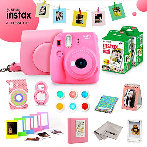 Fujifilm Instax Mini 9 Bundle (Flamingo Pink) – Fuji Camera Instant Film (40 Sheets) + 11-in-1 Accessory Bundle – Carry Case, 6 Color Filters, 2 Photo Albums, Assorted Frames, Selfie Lens & Much More