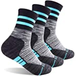 Women's Hiking Walking Socks, FEIDEER 3-Pack Outdoor Recreation Socks Wicking Cushion Crew Socks (Dark Gray)