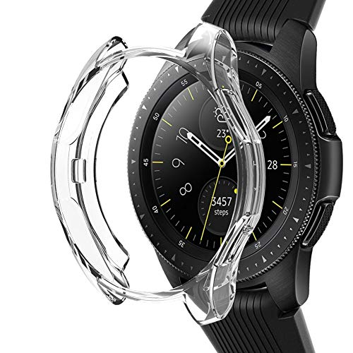 Case Compatible Samsung Galaxy Watch 42mm, NaHai Slim Plated TPU Case Scratch-Proof Cover Shatter-Resistant Protective Bumper Shell for Galaxy Watch 42mm SM-R810NZDAXAR Smartwatch, Crystal Clear