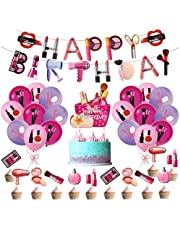 SFM 46 Pieces Makeup Birthday Party Decorations, Makeup Theme Party Supplies Set Includes Cosmetics Balloons, Happy Birthday Banner and Cake Toppers for Girls Party Spa Party Decorations