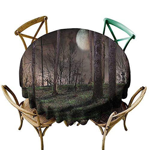 Indoor/Outdoor Round Tablecloth Gothic Decor Collection Dark Night in the Forest with Full Moon Horror Theme Grunge Style Halloween Photo Table Cover for Kitchen Dinning Tabletop Decoratio 40 INCH Br