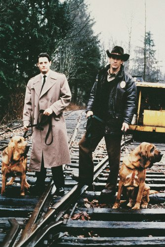 Twin Peaks Michael Ontkean Kyle Machlachlan with dogs on train tracks 24x36 Poster