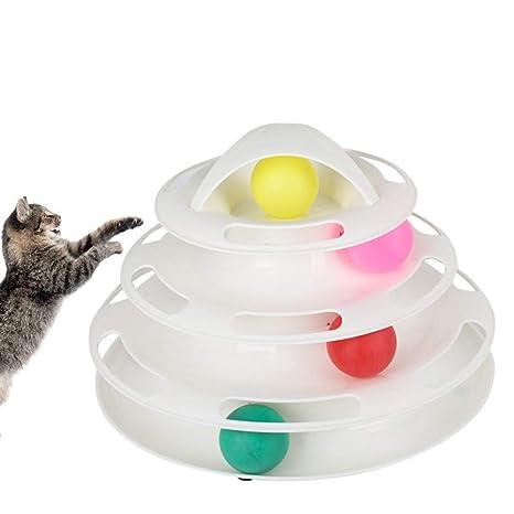 Petilleur Juguete Gato Interactivo Juguetes para Gatos con Bolas en 4 Nivel (Blanco)