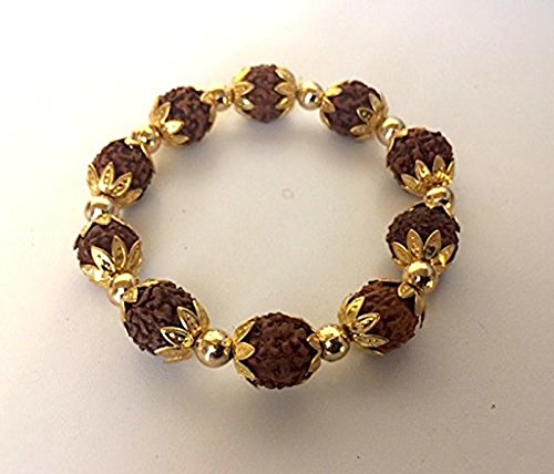 GORGEOUS RUDRAKSH RUDRAKSHA BRACELET - GOLD PLATED BEADS AND LINKS - FOR STESS FREE LIFE - ENERGIZED BRACELET - US SELLER - USA SELLER -
