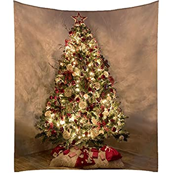 All Smiles Shiny Xmas Tree Tapestry Christmas Fabric Wall Hanging Decor for New Year Holiday 59