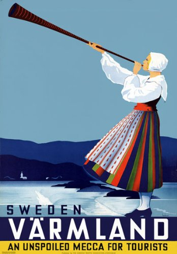 Vintage 1936 Sweden Varmland Swedish Travel Poster Re-Print - A4 mm