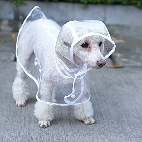 S-Lifeeling Fashion Puppy Pet Raincoat Transparent Waterproof Outdoor Dog Raincoat Hooded Jacket Poncho Pet Raincoat for Medium Dogs, Large (D-ring Dog Raincoat)