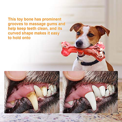 ESPER Dog Toys, Durable Dog Chew Toys for Aggressive Chewers Bacon Flavored Tough Natural Rubber & Teeth Cleaning Chewing Bones for Large/Medium Dogs (B)