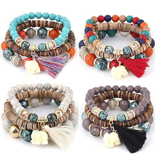 Beads Bracelet Fashion Watch - MelysUS Bead 3 Wrap Stackable Bracelets for Women Vintage Boho Bracelets Wood Elephant Charm Bangle