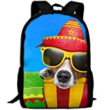 CY-STORE Glasses Hat Snout Funny Animals Print Custom Casual School Bag Backpack Travel Daypack Gifts