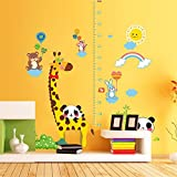YUMULINN wallpaper stickers Wallpapers murals Cartoon children's wall stickers self-adhesive bedroom living room baby height measurement wallpaper nursery animal stickers, 60X90CM
