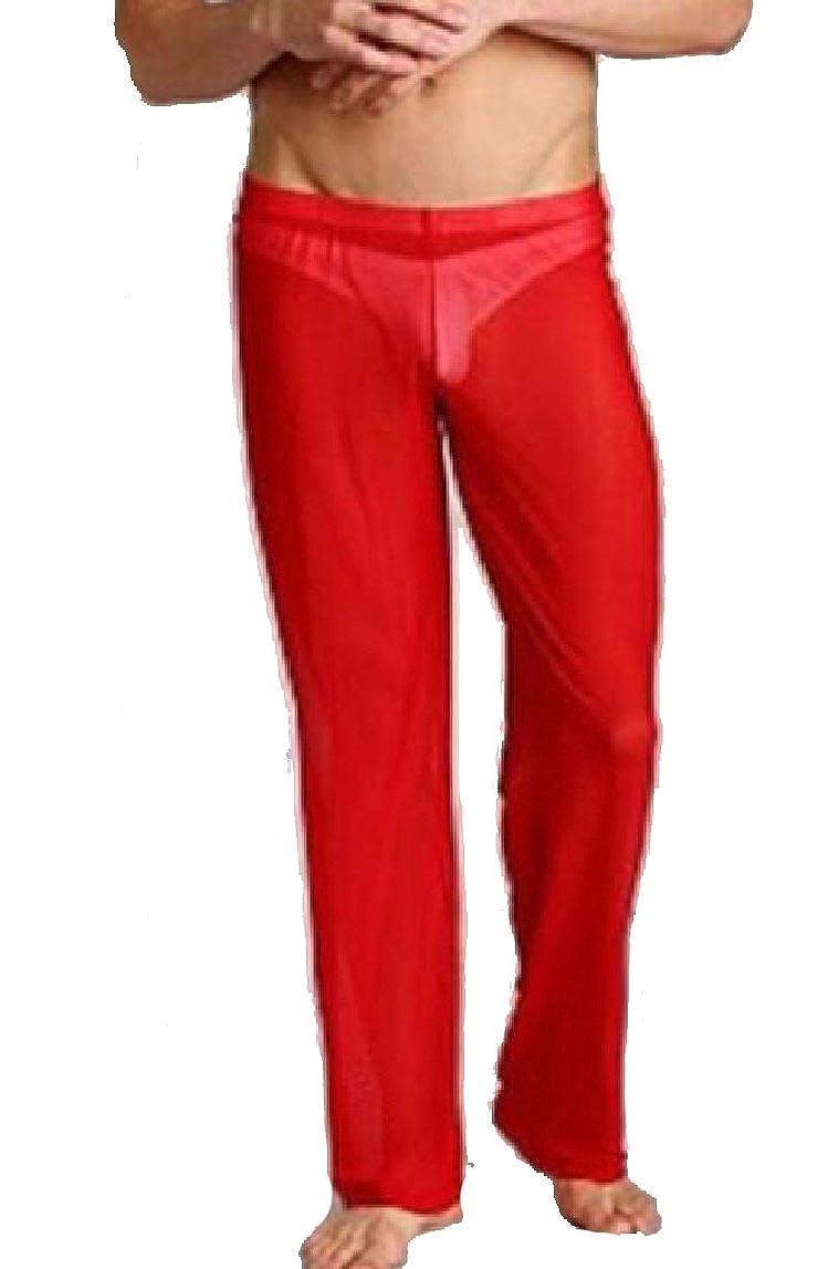xiaohuoban Mens Lounge Mesh See Through Home Sheer Pants Nightwear Underwear