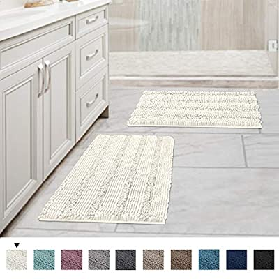 """H.VERSAILTEX Bath Rugs 2 Piece Set for Bathroom Non Slip Thick Chenille Bath Rugs Mats Water Absorbent Ultra Soft Fluffy Shag Rugs Machine Washable (2 Pack 17"""" x 24"""", Ivory) - ULTRA THICK: Compare the normal quality 1350g/sm, this plush chenille carpet set is more thick and bushy, quality up to 2000g/sm weight, thus make the bath mats amazing soft and cozy like a comfortable quilt protector for your feet EXTRA ABSORBENT: These upgraded luxurious shag rugs can soak up the water and keep your floor dry like a jaint sponge, keeping away from any mildew or moldy, spruce up your powder room for maximum serenity and warmth NON SKID: With updated version slip-resistant SBE/Hot melt spray backing, keeps the rugs mats long lasting and more durable, keep the new fresh look year after year, while still strongly hold mats firmly in place for safety - bathroom-linens, bathroom, bath-mats - 511k95872uL. SS400  -"""