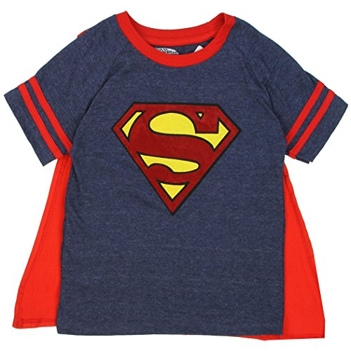 Superman Toddler Little Boys Superman Logo T-Shirt with Cape (2T, Navy Blue) (Superman T Shirt With Cape)