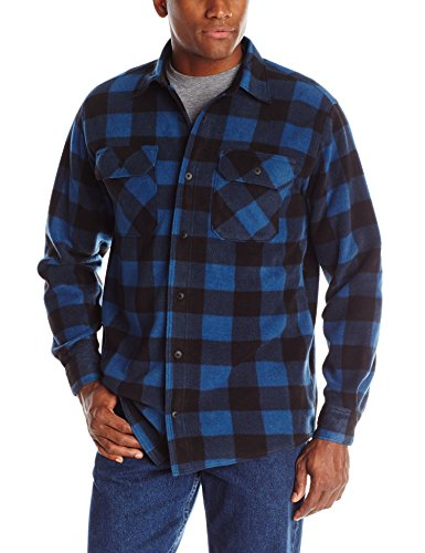 (Wrangler Authentics Men's Long Sleeve Plaid Fleece Shirt, Blue Buffalo, Large)