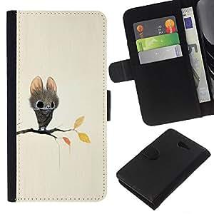 Be-Star la tarjeta de Crédito Slots PU Funda de cuero Monedero caso cubierta de piel Sony Xperia M2 ( Bat Cartoon Fairy Tale Cute Big Eyes Animal )