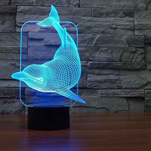 Saiam 3D Lamp Desk Table Light Cute Lovely Dolphin Shapes 7 Colors Amazing Optical Illusion Led Lamp Art Sculpture Lights Produces Unique Lighting Effects And 3D Visualization For Home D cor
