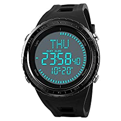 Men's World Time Compass Watches Waterproof Digital Outdoor Sports Watch Men's Watch Countdown Wrist Watches