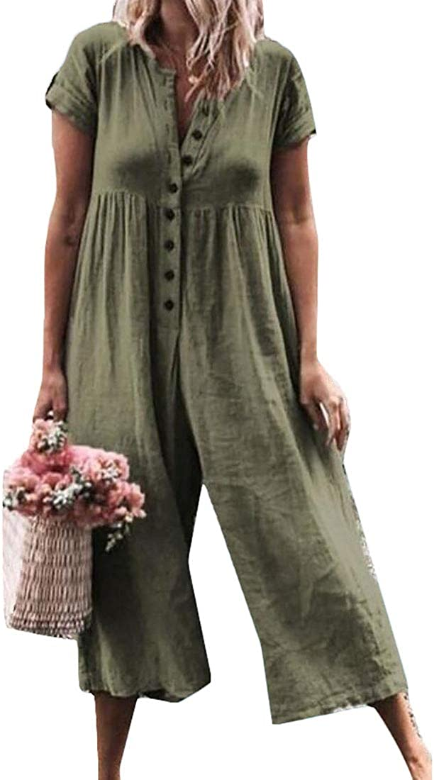SHOWNO Womens Loose Fit Button Up Wide Leg Short Sleeve Pure Color Casual Jumpsuit Romper