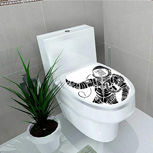 Philip C. Williams Decal Wall Art Decor Motivation Calligraphy with Astronaut in The Costume Gravity Black White for Toilet Decoration W13 x L18 -