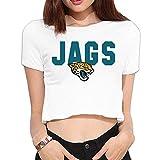 MTSHIQD Women's Jacksonville Jaguars Logo Crop Top T Shirt White