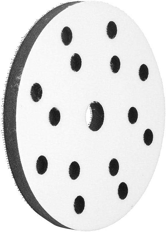 6 holes Akozon Almohadilla de lijado de almohadilla blanda Soft Buffer Sponge Interface Coj/ín de interfaz para lijadoras de 150 mm 150 mm de di/ámetro