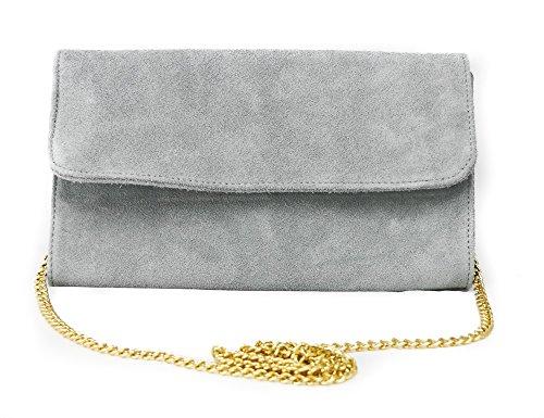Bolso de fiesta para mujer, piel afelpada italiana auténtica, correa dorada gris claro