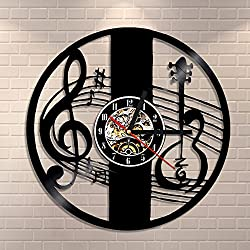 Guitar and Treble Clef Musical Wall Clock Made Of Vinyl Laser Engraved Shadow Art Music Room Classical Decoration