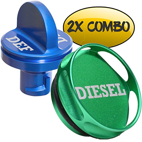 Ronin Factory COMBO PACK - Magnetic Diesel Fuel Cap + DEF Cap Accessory for Dodge RAM TRUCK 1500 2500 3500 (2013-2018) with 6.7 CUMMINS EcoDiesel, NEW Easy Grip Design