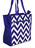 J Garden Chevron Print Collection Canvas Travel Tote Bag 12-inch (Chevron - Royal Blue)