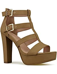 Women's Platform Ankle Strap High Heel - Open Toe Sandal...