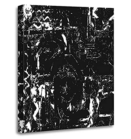 Emvency Painting Canvas Print Artwork Decorative Print Brush Simple Abstract Black And White Drawing Expressive Overlay Chalk Corner Wooden Frame