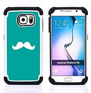 """Samsung Galaxy S6 / SM-G920 - 3 en 1 impreso colorido de Altas Prestaciones PC Funda chaqueta Negro cubierta gel silicona suave (Bigote trullo Verde Blanco Hipster"""")"""